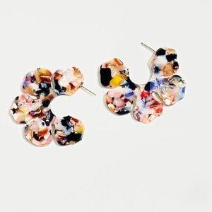 J.Crew Acetate Flower Open Hoops In Multicolor